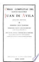 Obras Completas Del Santo Maestro Juan de Avila: Sermones: ciclo temporal