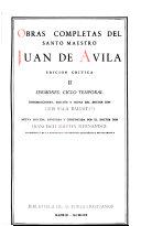 Obras Completas Del Santo Maestro Juan de Avila  Sermones  ciclo temporal Book