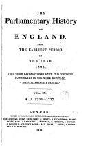 Cobbett s Parliamentary History of England  1733 1737