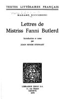 Lettres de Mistriss Fanni Butlerd