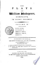 The Plays Of William Shakspeare Complete In Eight Volumes