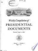 Weekly Compilation of Presidential Documents Book