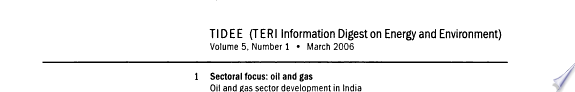 TERI Information Digest on Energy and Environment