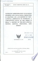 Veterans' Administration analysis of findings and conclusions, presented in chapter 1 of a 1973 report on