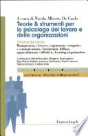 Teorie e strumenti per lo psicologo del lavoro e delle organizzazioni
