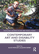 Contemporary art and disability studies cover, purple and white with image of a person, purple and white text