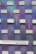 Asegi stories : cherokee queer and two-spirit memory cover, purple and white rectangular shapes with purple and white text