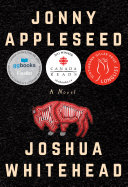 Jonny Appleseed : a novel cover, black background with red buffalo illustration in the centre, light beige text