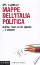 Mappe dell'Italia politica bianco, rosso, verde, azzurro-- e tricolore