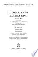 Dichiarazione Dominus Iesus 6 agosto 2000