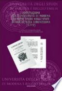 Costituzioni per l'Università di Modena e altri studi negli Stati di Sua Altezza Serenissima (1772), a cura di Carmelo Elio Tavilla con la collaborazione di Andrea Lodi