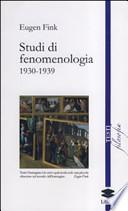 STUDI DI FENOMENOLOGIA.1930-1939