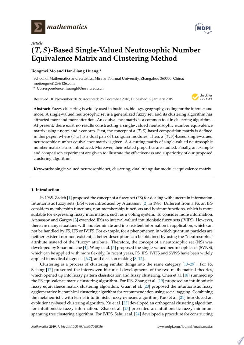 (T, S)-Based Single-Valued Neutrosophic Number Equivalence Matrix and Clustering Method banner backdrop